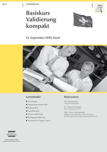 Basiskurs Validierung kompakt 14. September ... - GMP-Navigator