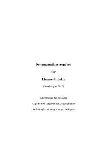 Vorgaben zur Dokumentation Linearer Projekte - Bayern