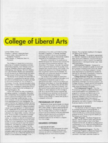 College of Liberal Arts - University of Tennessee Digital Library ...