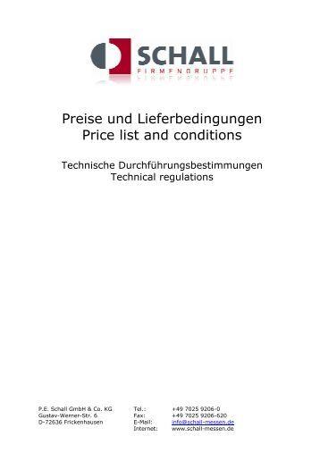 Preise Bedingungen FK2005 - P.E. Schall GmbH