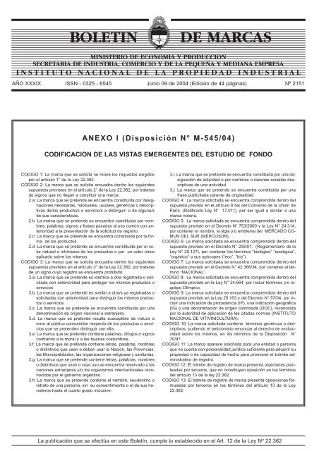 Marcas Concedidas 09 06 2004 Instituto Nacional De La