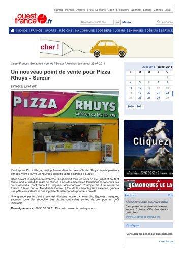 Un nouveau point de vente pour Pizza Rhuys - Surzur