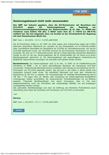 Endriss Newsletter 06 / 2010 - Steuer-Fachschule Dr. Endriss