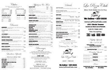 menu items - La Pizza Club