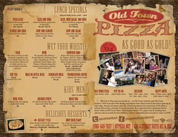 Download our to-go menu - Old Town Pizza