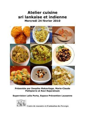 Atelier cuisine sri lankaise et indienne - Centre de Rencontre et d ...