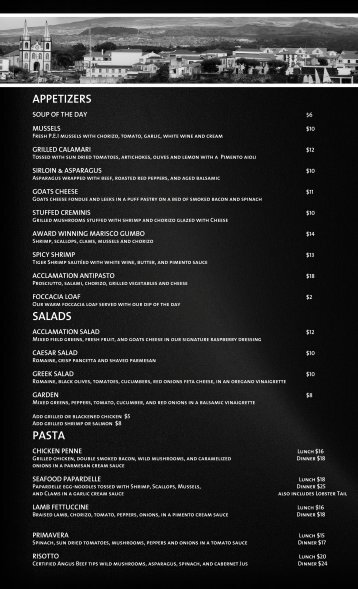 to Download our Menu in PDF - Acclamation