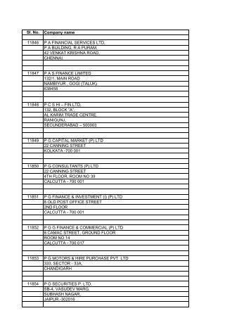 Sl. No. Company name 11846 P A FINANCIAL SERVICES LTD ...