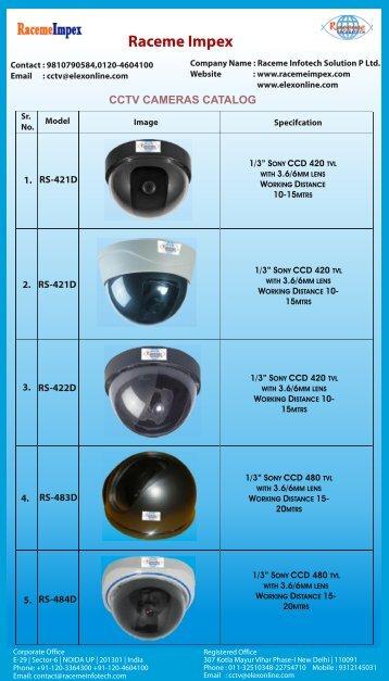 Raceme Impex CCTV CAMERAS CATALOG - Elex