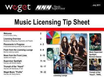 Welcome 2 Licensing Overview 3 Placements in ... - Music Supervisor