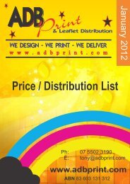 Price List January 2012 - ADB Print & Leaflet Distribution