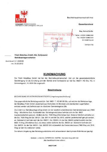 Betriebsanlagenverfahren Schlosserei Fröch - Gemeinde Silz