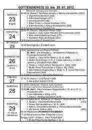GOTTESDIENSTE 23. bis 29. 07. 2012 - Reith im Alpbachtal