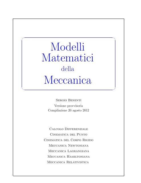 Modelli Matematici Meccanica Corso Di Studi In Matematica