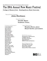 The 29th Annual New Music Festival - Bowling Green State University