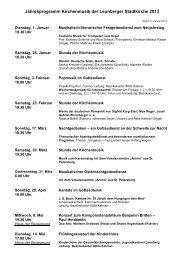 Jahresprogramm Kirchenmusik der Leonberger Stadtkirche 2013