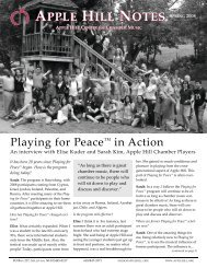 APPLE HILL NOTES - Apple Hill Center for Chamber Music