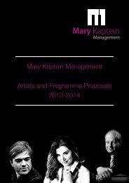 Mary Kaptein Management Artists and Programme Proposals 2013 ...