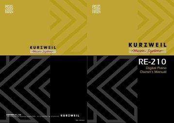 Manual for Kurzweil RE-210 Digital Piano