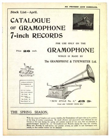 Catalogue of Gramophone 7 Inch Records, ca. 1903 - British Library ...