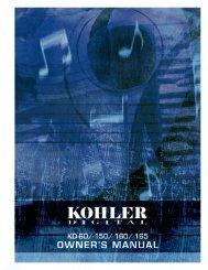 Owner's Manual - Kohler Digital Pianos