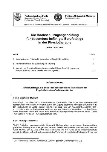 Die Hochschulzugangsprüfung für besonders ... - Hochschule Fulda