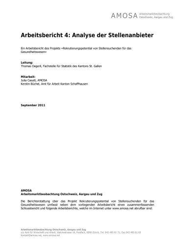 Arbeitsbericht 4: Analyse der Stellenanbieter - AMOSA