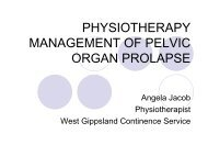 PHYSIOTHERAPY MANAGEMENT OF PELVIC ORGAN PROLAPSE