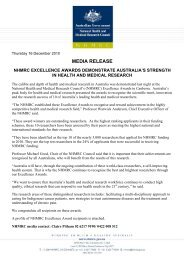 MEDIA RELEASE - National Health and Medical Research Council
