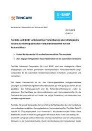 TenCate und BASF unterzeichnen Vereinbarung über strategische ...