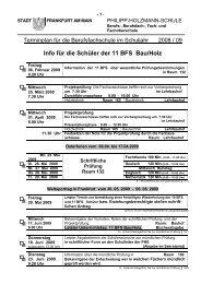 Info für die Schüler der 11 BFS Bau/Holz - Philipp-Holzmann-Schule