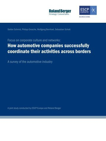 How automotive companies successfully coordinate ... - Roland Berger