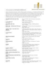 Die Vorauswahl zum DEUTSCHEN FILMPREIS 2013 DIE ...