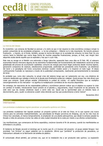 Tarragona BOLETÍN INFORMATIVO Boletín nº 39 ... - CEDAT