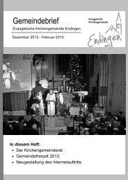 Gemeindebrief Dezember 2012 bis Februar 2013 - Evangelische ...