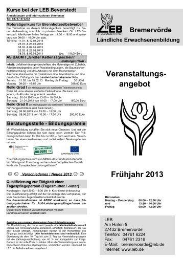 Veranstaltungs- angebot Frühjahr 2013 - leb-brv.de