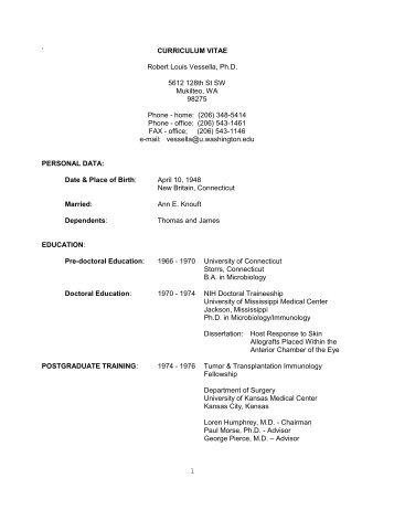 ` CURRICULUM VITAE Robert Louis Vessella, Ph.D. 5612 128th St ...