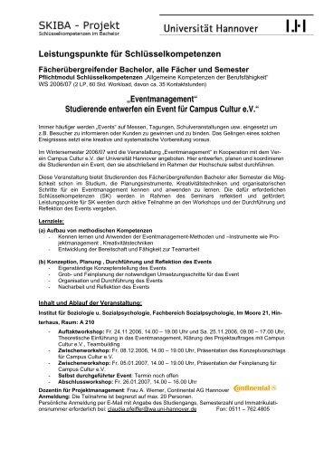 """Leistungspunkte für Schlüsselkompetenzen """"Eventmanagement ..."""