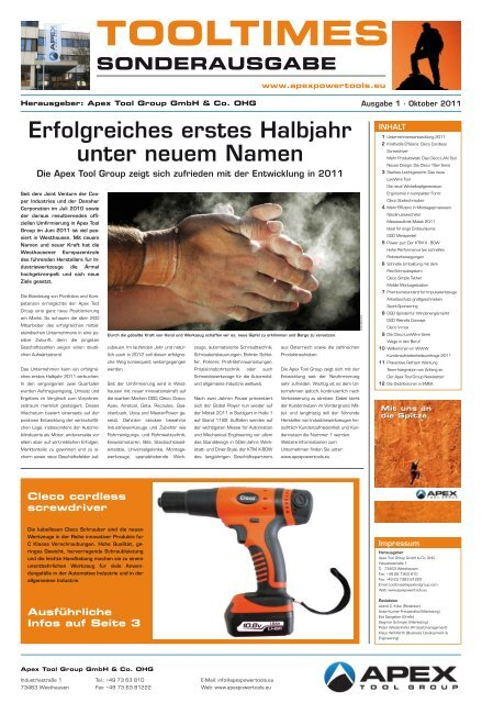 TOOLTIMES Sonderausgabe 2011 - Apex Tool Group – Power Tools