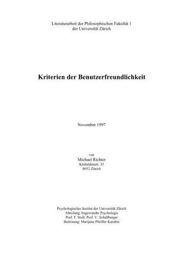 Kriterien der Benutzerfreundlichkeit - Michael Richter