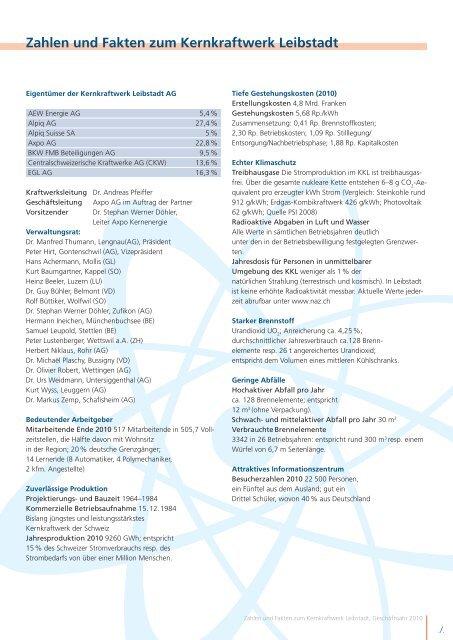 KKL_TB, Einlageblatt A4 cm.indd - Kernkraftwerk Leibstadt AG