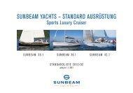 Preislisten Sunbeam 30.1 36.1 42.1 - Sunbeam Yachten
