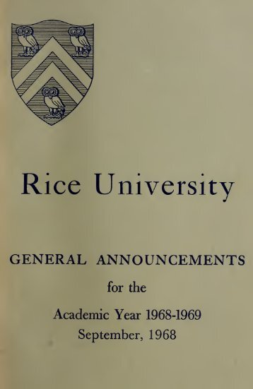 Rice University General announcements - Rice University's digital ...