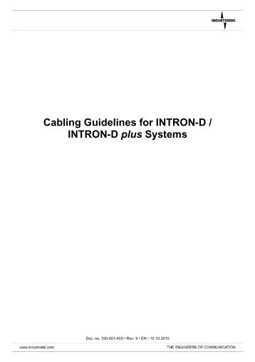 Cabling Guidelines for INTRON-D - Industronic