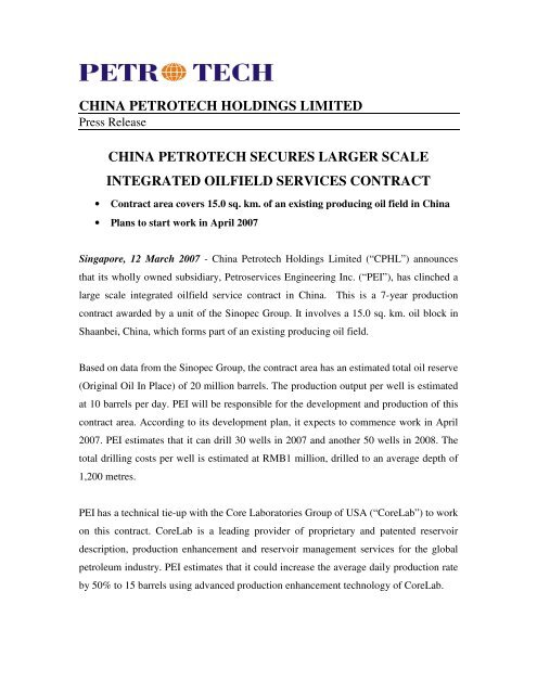 China Petrotech Secures Larger Scale Integrated Oilfield