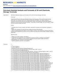 Petrotank Detailed Analysis and Forecasts of Oil and Chemicals ...