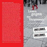 110510 Lesen gegen das vergessen.indd - Die Linke. -Fraktion Berlin