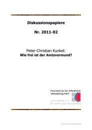 Diskussionspapiere Nr. 2011-02 Peter-Christian ... - Hochschule Kehl