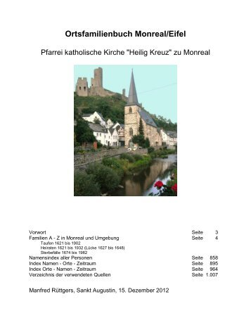 Ortsfamilienbuch Monreal/Eifel - Heimatchronik Monreal