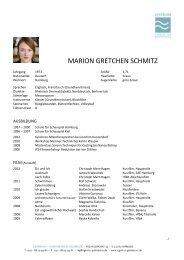 MARION GRETCHEN SCHMITZ - Agentur GEHRMANN